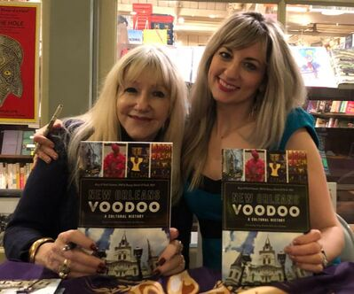 A picture of Dr. Rory Schmitt and co- author Rosary O'Neill at the launch event for the New Orleans Voodoo Book